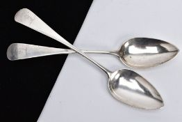 TWO SILVER TABLESPOONS, each of plain design, engraved 'Grip fast' to the handle, with the