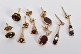 FOUR PAIRS OF GEM SET EARRINGS, the first a pair of 9ct gold cluster earrings set with circular