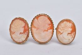 THREE 9CT GOLD CAMEO SHELL BROOCHES, each designed with women in profile within collet mounts,