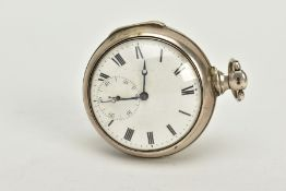 A SILVER PAIR CASED THOMPSON POCKET WATCH, white dial, Roman numerals, blue hands, seconds
