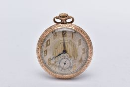 AN OPEN-FACED WALTHAM POCKET WATCH, silver stripped design dial, Arabic numerals, blue hands,