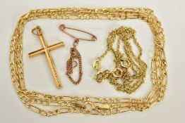 A SMALL SELECTION OF JEWELLERY, to include figaro chain, length 600mm, fitted to a spring clasp,