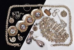 A SELECTION OF JEWELLERY, to include a pair of plain polished drop earrings, stamped 925, two
