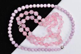 ROSE QUARTZ AND LAVENDER JADE BEAD NECKLACES, the first designed with rose quartz circular beads,