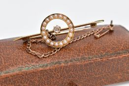 A VICTORIAN DIAMOND AND SEED PEARY BROOCH, the yellow metal bar brooch set with a single old cut