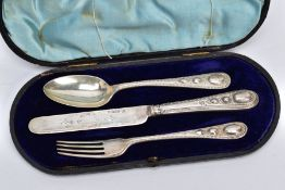 A CASED SET OF SILVER CUTLERY, to include a three-piece set of floral engraved beaded edge pattern