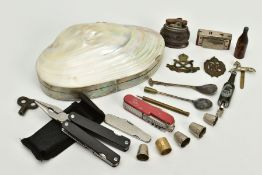 A SELECTION OF MISCELLANEOUS ITEMS, to include a mother of pearl shell jewellery box and contents