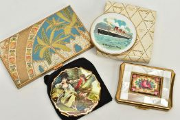FOUR COMPACTS, to include a 'Stratton' with an enamel picture of the R.M.S. Queen Mary, together