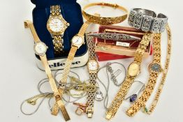 A SELECTION OF WRISTWATCHES AND JEWELLERY, to include five ladies wristwatches of various styles