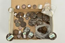 A BOX OF COINS, to include early 20th Century British half penny coins and one penny coins,