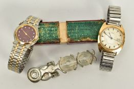 TWO GENTS WRISTWATCHES AND A PAIR OF SOVEREIGN SCALES, to include a 'Timex' gold coloured dial,