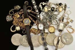 A SMALL QUANTITY OF JEWELLERY AND COINS, to include three ladies wristwatches, such as a '