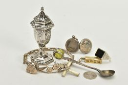 A SELECTION OF ITEMS, to include a silver pepper pot, hallmarked Birmingham 1904, a silver open work