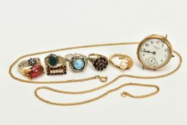 A SELECTION OF JEWELLERY, to include a gold plated 'Waltham' white dial, Arabic numerals, blue