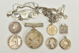 A SELECTION OF NECKLACES, COINS AND PENDANTS, to include four white metal necklaces such as a pear