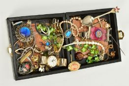 A BOX OF COSTUME JEWELLERY, to include eleven pairs of pierced and non-pierced earrings, a white