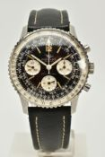 A GENTS BREITLING GENEVE 806 NAVITIMER WRISTWATCH, circa mid 60's, multi function black dial, Arabic