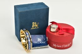 A SILVER ROLO KEEPSAKE AND AN ENAMEL FREY WILLE BANGLE, the cased silver Rolo engraved 'To Dave, for