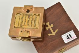 A BOXED STANLEY LONDON NAVIGATION COMPASS, the brass compass signed 'Stanley London' accompanied