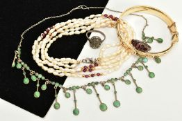 A SELECTION OF JEWELLERY, to include a multi strand cultured pearl and garnet bead necklace,