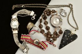 A SELECTION OF ITEMS, to include 'Links London' silver and pink cord pull bracelet, beaded clasp