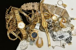 A SELECTION OF COSTUME JEWELLERY, to include four ladies wristwatches of various designs such as