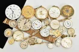 A QUANTITY OF WATCH PARTS AND MOVEMENTS, to include three watch straps, together with pocket watch