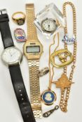 A SELECTION OF ITEMS, to include two gents wristwatches, such as a digital 'Sekonda', rectangular