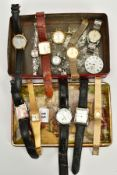 A TIN OF WRISTWACHES, to include six gents wristwatches, such as a rectangular cased 'Rotary' salmon