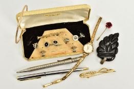 A SELECTION OF ITEMS, to include a cased incomplete set of white metal and mother of pearl dress