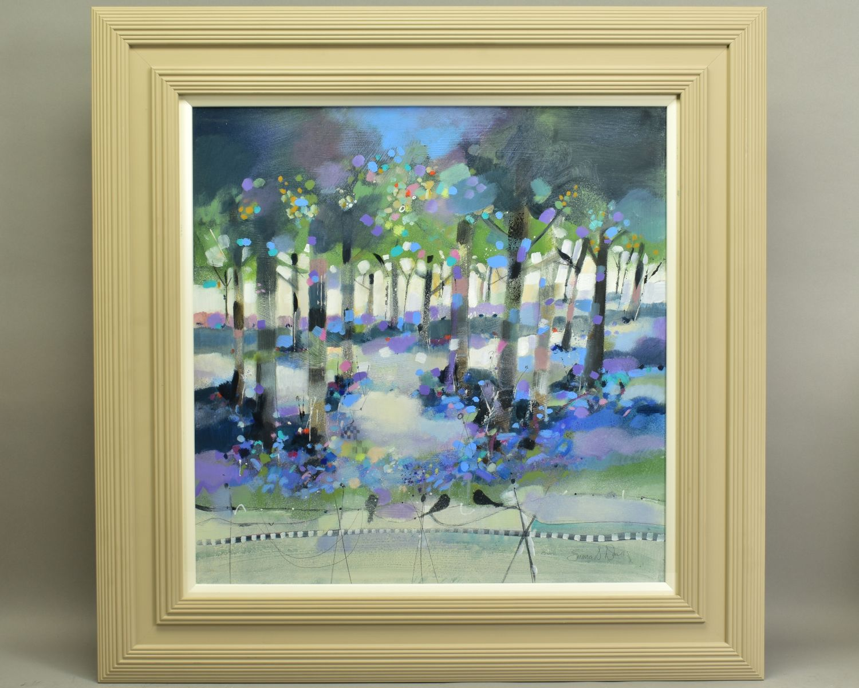 EMMA S. DAVIS (SCOTTISH 1975), 'Into The Woods', a colourful woodland landscape, signed bottom