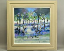 EMMA S. DAVIS (SCOTTISH 1975), 'Into The Woods', a colourful woodland landscape, signed bottom