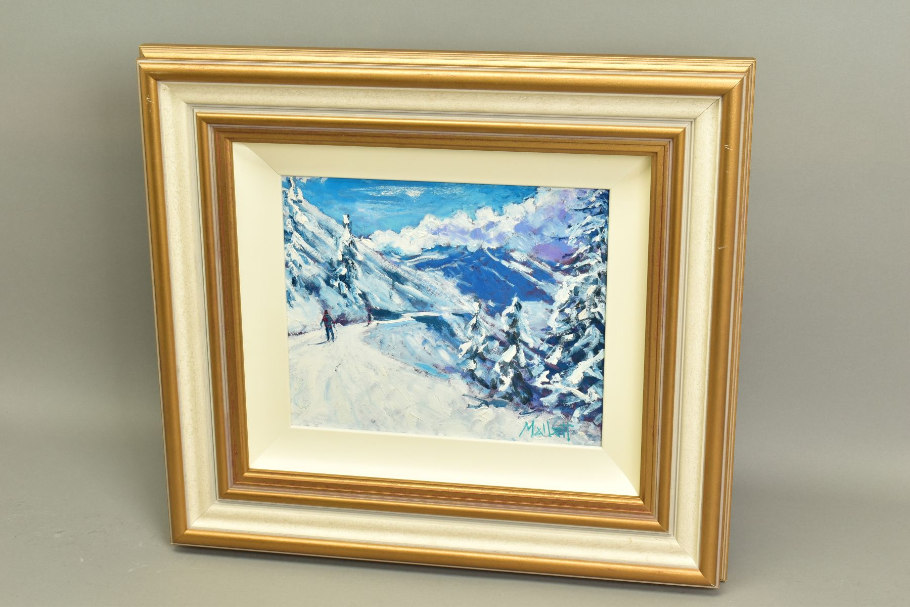 TIMMY MALLETT (BRITISH CONTEMPORARY), 'Winter Fun', an impressionist Alpine scene with skiers, - Image 5 of 7