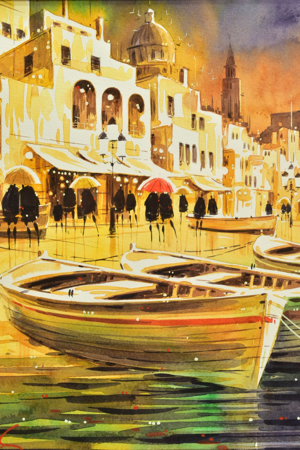 PETER J. RODGERS (BRITISH CONTEMPORARY), 'Reflections, Naples', an Italian Promenade on a rainy - Image 2 of 5