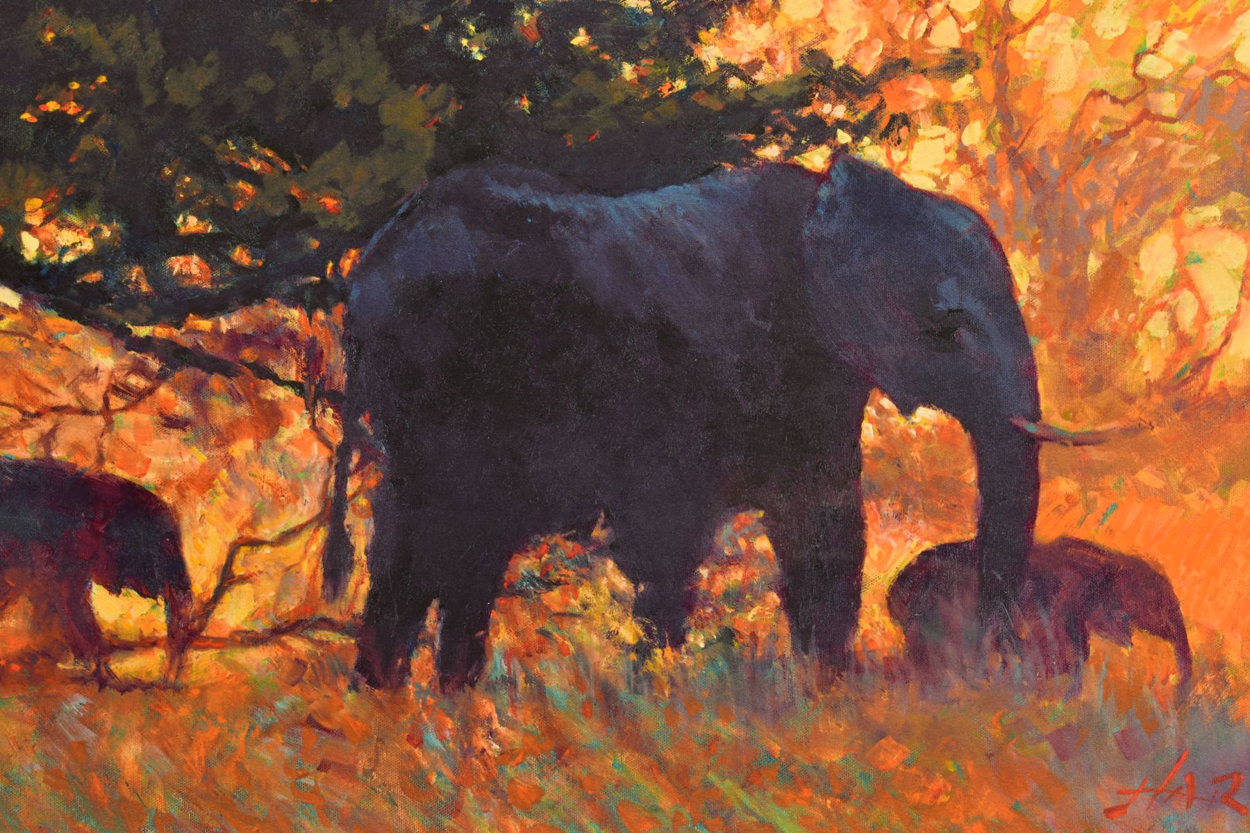 ROLF HARRIS (AUSTRALIAN 1930), 'Backlit Gold', a Limited Edition print of Indian Elephants, 83/ - Image 2 of 9