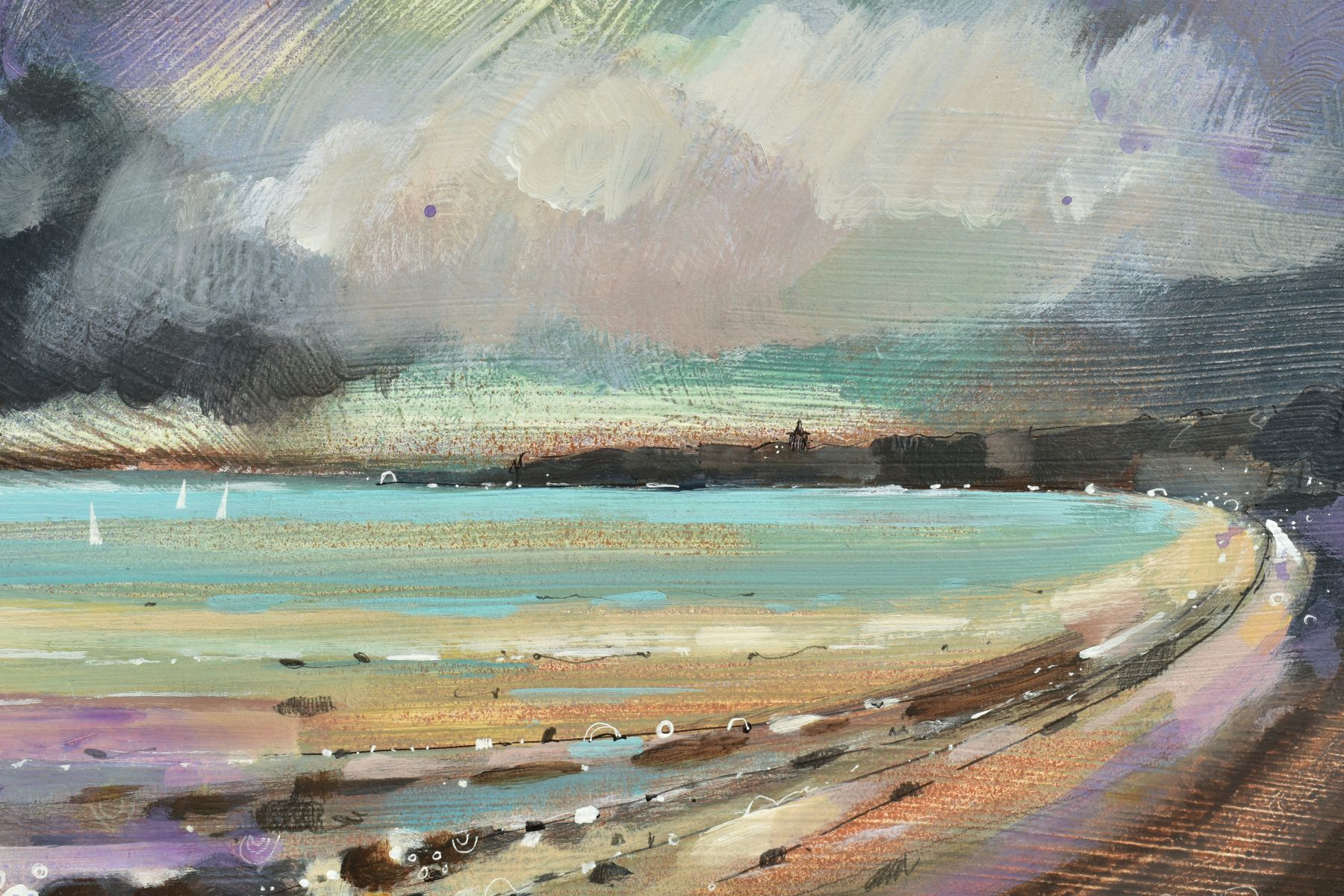EMMA S. DAVIS (BRITISH 1975), 'Sailing at St Andrews', a Scottish coastal landscape, signed bottom - Image 3 of 6