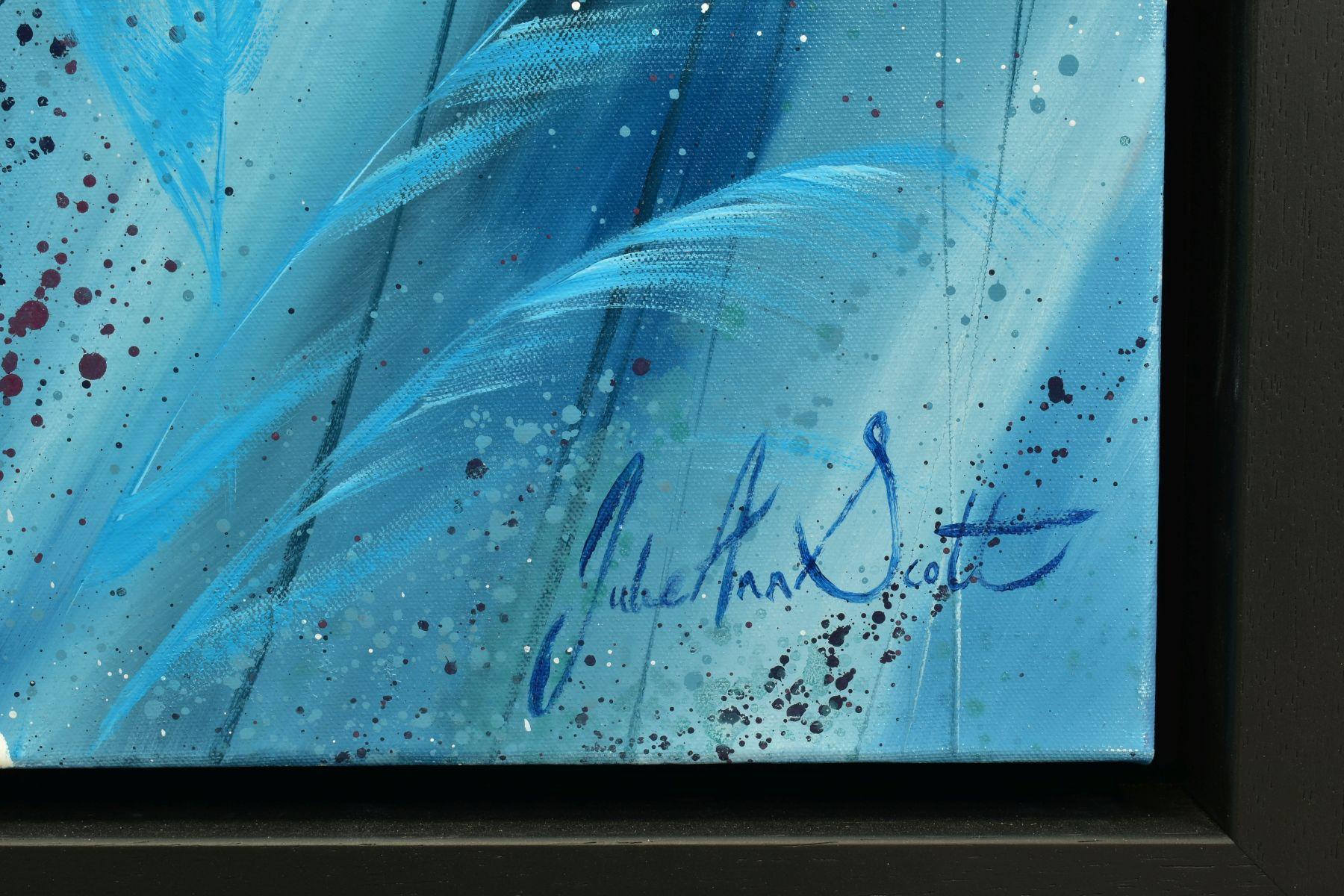 JULIE ANN SCOTT (BRITISH CONTEMPORARY), 'Home Spun Joy', wild flowers against a blue backdrop, - Image 4 of 7