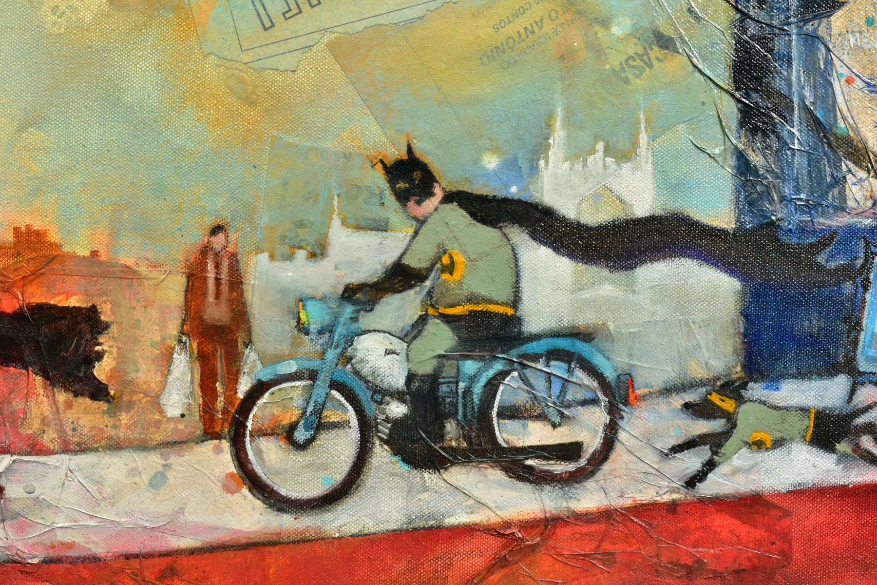 RICHARD BUREL (FRANCE 1974), 'Batman & Robin', the comic super heroes riding mopeds, signed bottom - Image 2 of 6