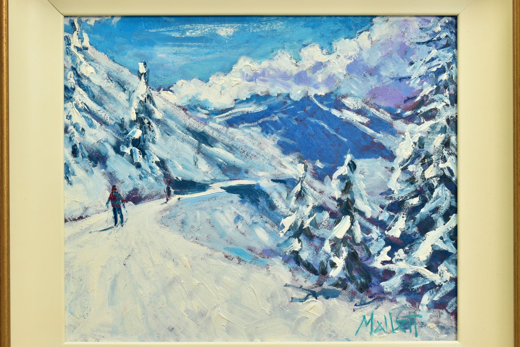 TIMMY MALLETT (BRITISH CONTEMPORARY), 'Winter Fun', an impressionist Alpine scene with skiers, - Image 2 of 7