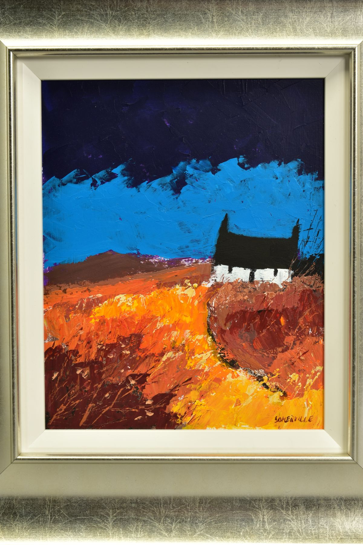 GEORGE SOMERVILLE (BRITISH 1947), 'Fading Daylight', a white cottage under a blue sky, signed bottom - Image 2 of 5