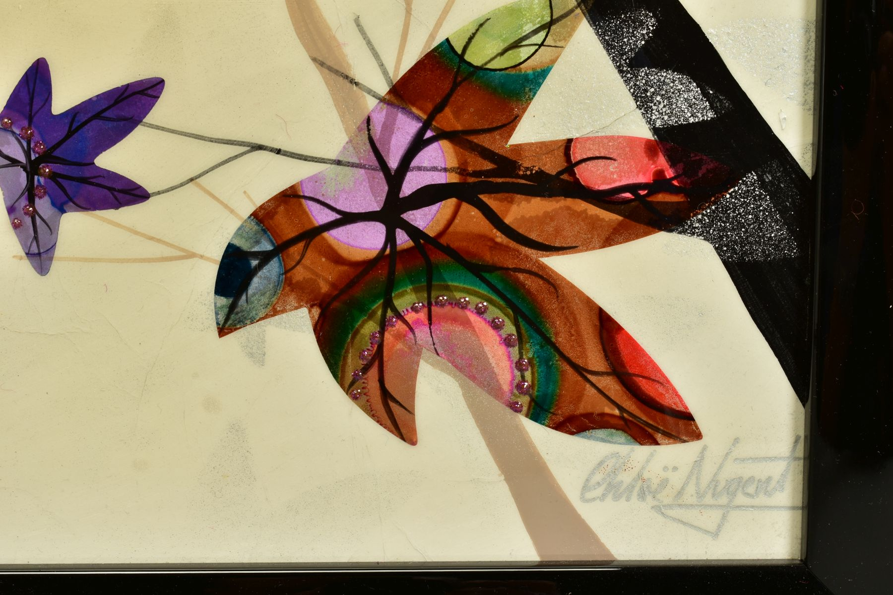 CHLOE NUGENT (BRITISH CONTEMPORARY), 'Woodland Jewels VI', colourful leaves falling from trees, - Image 5 of 6