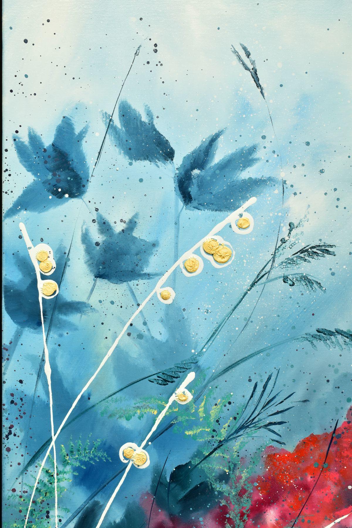 JULIE ANN SCOTT (BRITISH CONTEMPORARY), 'Home Spun Joy', wild flowers against a blue backdrop, - Image 2 of 7
