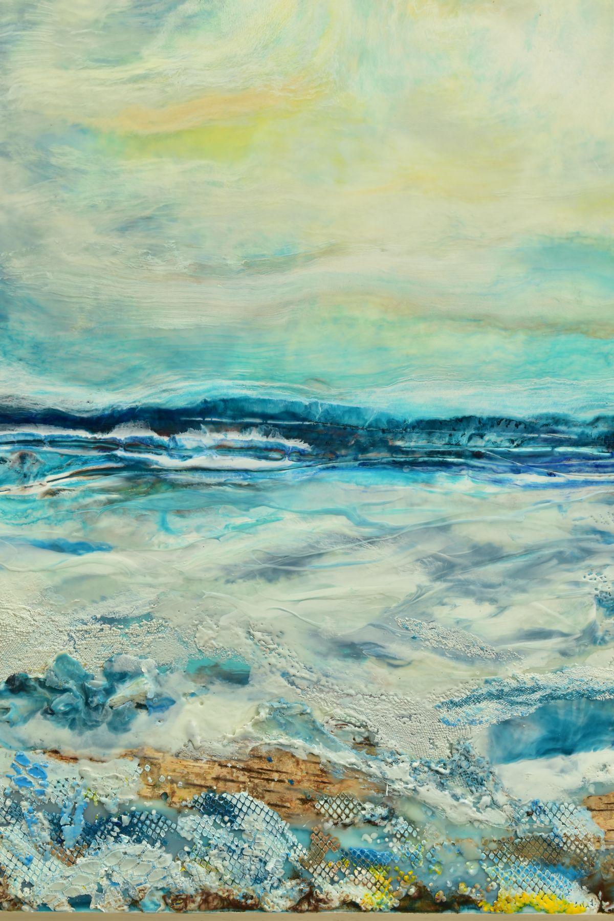 JENNINE PARKER (BRITISH 1971), 'Sea of Splendor', a coastal seascape, initialled bottom right, mixed - Image 2 of 7