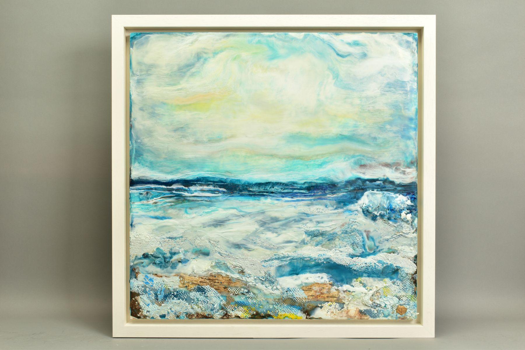 JENNINE PARKER (BRITISH 1971), 'Sea of Splendor', a coastal seascape, initialled bottom right, mixed