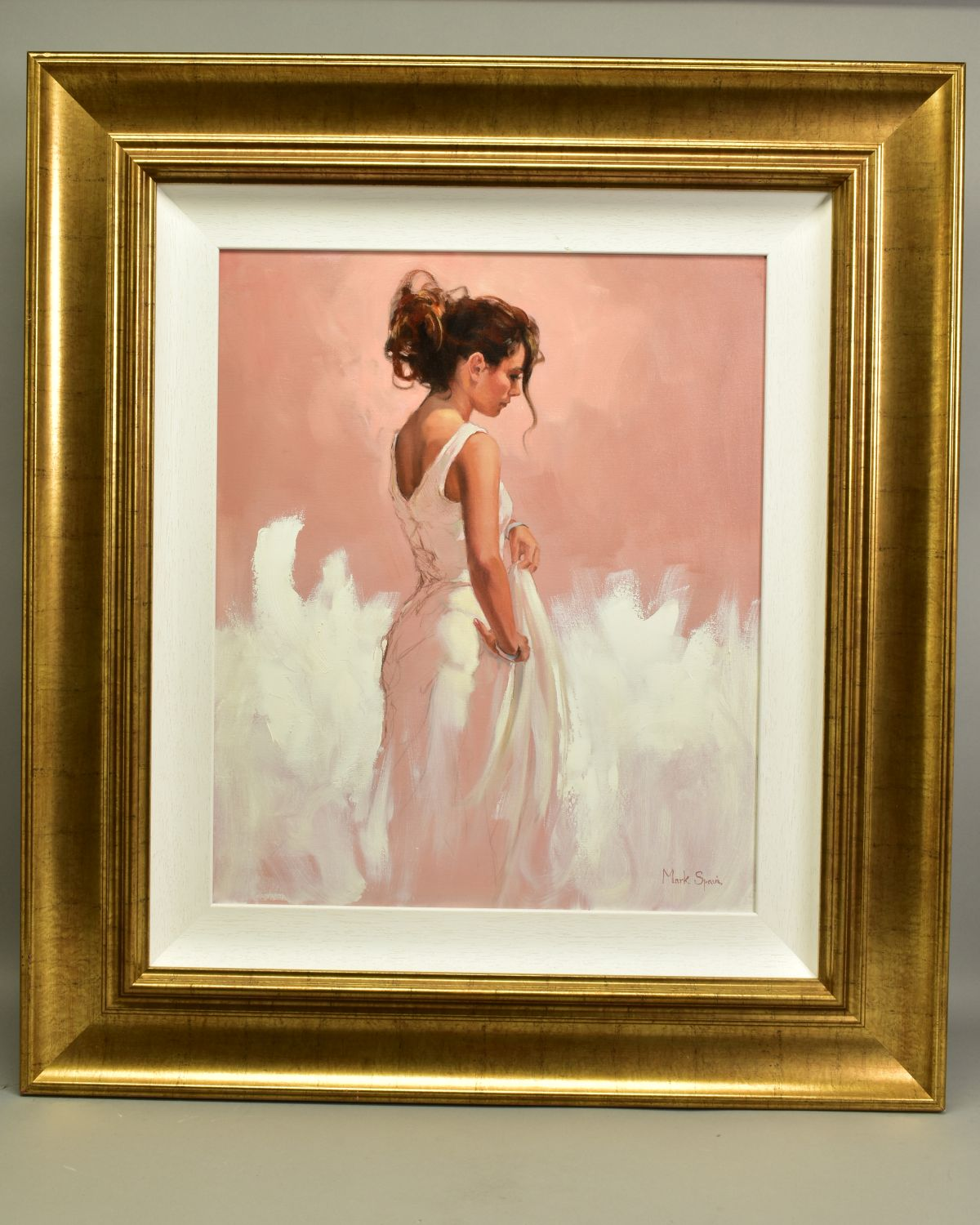 MARK SPAIN (BRITISH CONTEMPORARY), 'Woman In White', a female figure wearing a white dress, signed