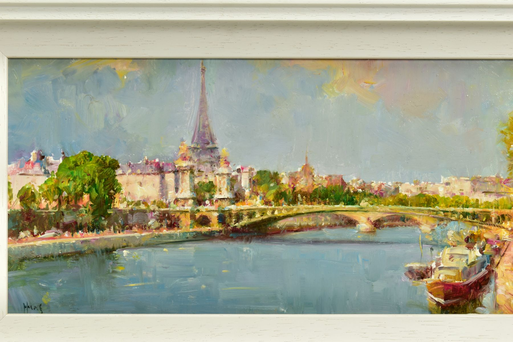 HELIOS GISBERT (SPANISH 1958), 'Parisian Summer', an impressionist view of Paris, signed bottom - Image 2 of 6