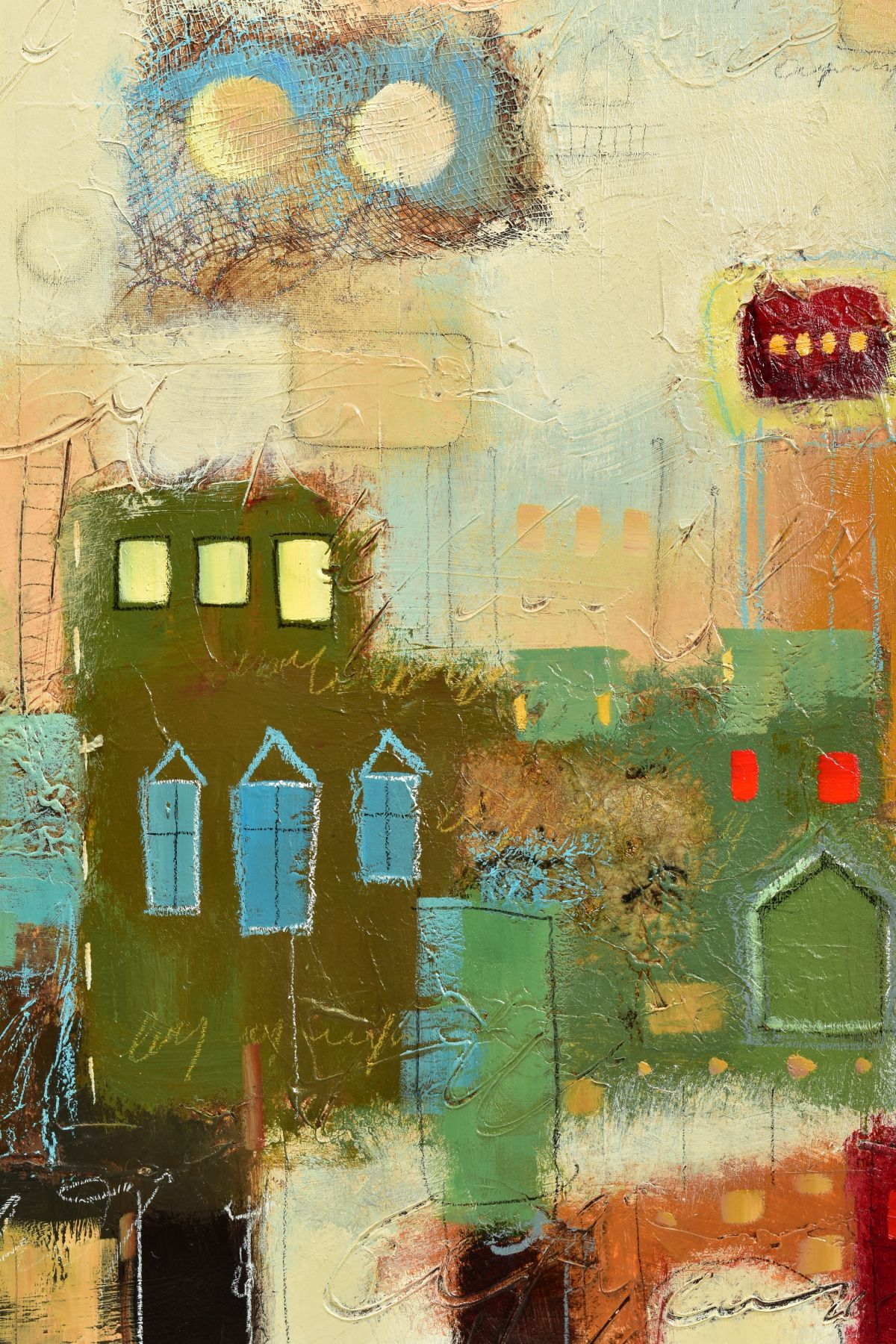 JOHN MILAN (AMERICAN CONTEMPORARY), 'Urban Continuum III', a colourful abstract composition, - Image 2 of 6