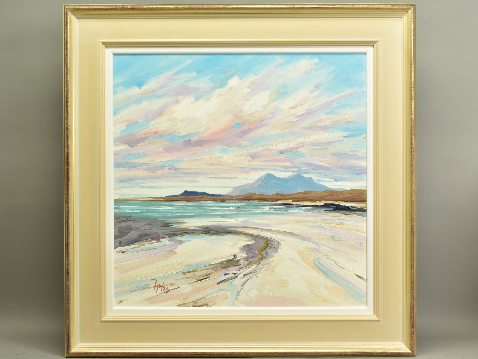 TOM BARRON (SCOTTISH CONTEMPORARY), 'Summer Light, Sanna Bay IV', a Scottish coastal landscape,