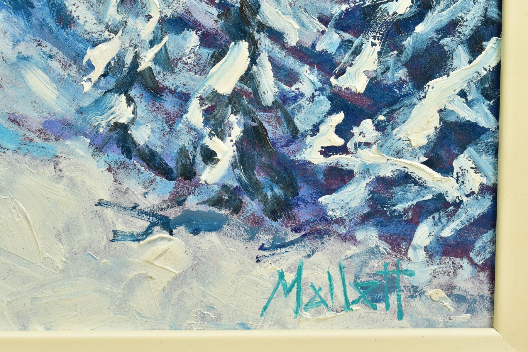 TIMMY MALLETT (BRITISH CONTEMPORARY), 'Winter Fun', an impressionist Alpine scene with skiers, - Image 4 of 7