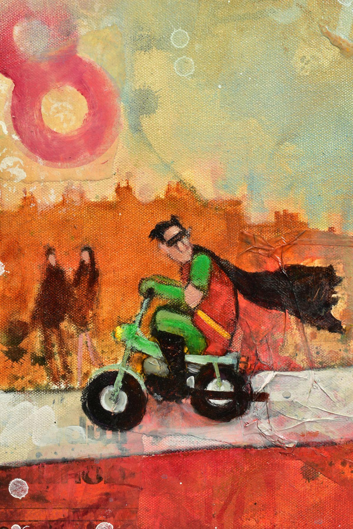 RICHARD BUREL (FRANCE 1974), 'Batman & Robin', the comic super heroes riding mopeds, signed bottom - Image 3 of 6